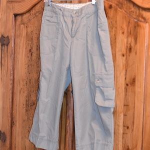 Grey Cropped Linen Cargo Pants by Columbia